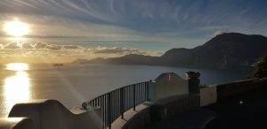 Tramonto da Praiano e vista su Isola dei Galli, Punta Campanella e Capri.